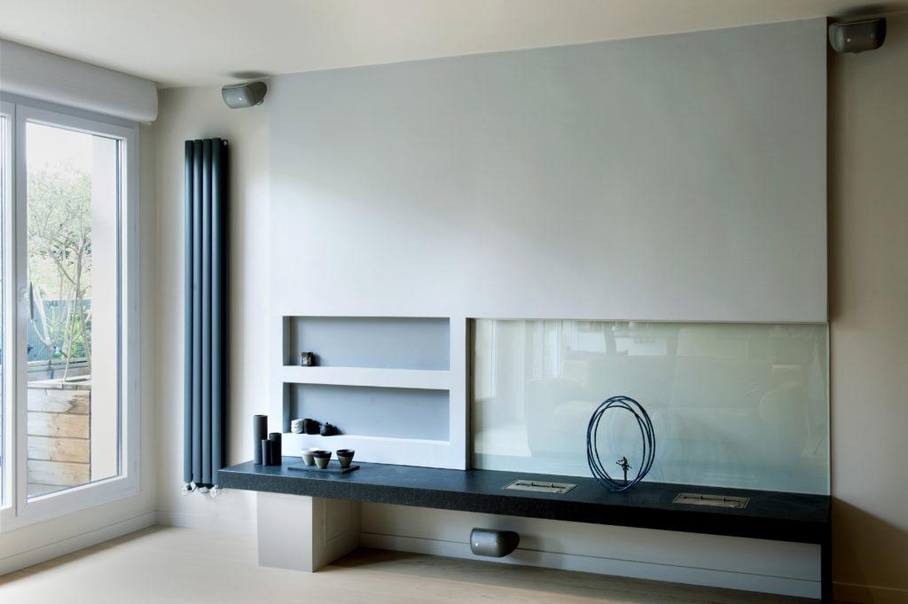 meuble salon écran cheminée